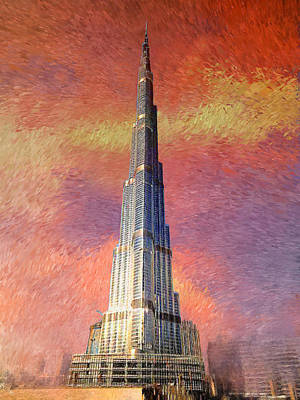 Dubai Skyline Painting - Sky Is The Limit by Art Tantra