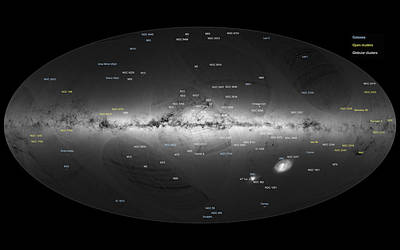 Deep Sky Photograph - Sky Map, Gaia Satellite Annotated by Science Source