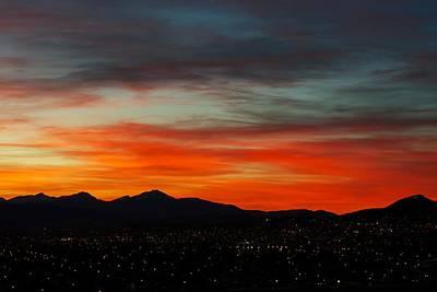 Sky On Fire -- Butte Mt Art Print by Kevin Bone