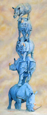 Indian Rhino Painting - Sky Tower by Sarah Soward