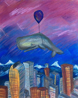 Pastel - Sky Whale Over Denver by Athena Lutton