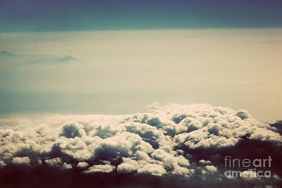 Puffy Photograph - Sky With Puffy Clouds In Vintage Retro Style by Michal Bednarek