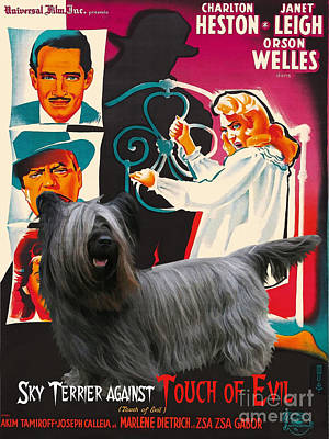 Portrait Of Evil Painting - Skye Terrier Art Canvas Print - Touch Of Evil Movie Poster by Sandra Sij