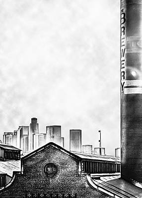 Skyline - Los Angeles Brewery And Downtown - Black And White Art Print