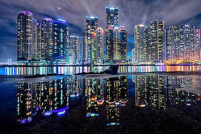 Skyline At Night Art Print by Keith Homan