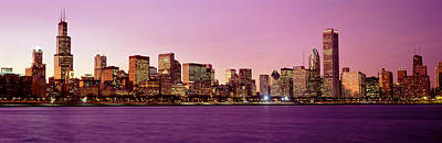 Radiant Image Photograph - Skyline At Sunset, Chicago, Illinois by Panoramic Images