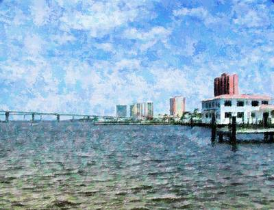 Mixed Media - Skyline Ft. Myers by Florene Welebny
