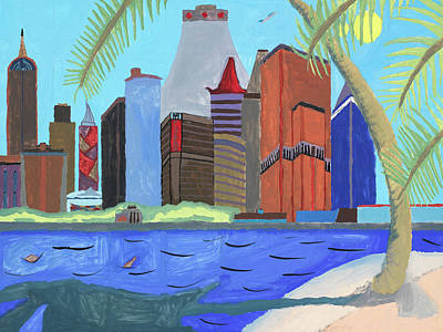 Art Print featuring the painting Skyline by Artists With Autism Inc