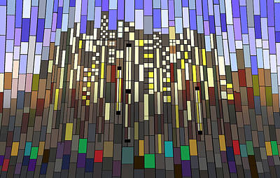 Digital Art - Skyline Mosaic by Ginny Schmidt