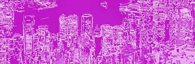 Pink Digital Art - Skyline Number 7 by Gina Dsgn