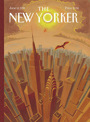 Skyline Of Nyc At Sunset With Icarus Flying Close Art Print by Eric Drooker