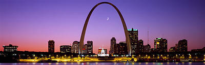 Crescent Moon Photograph - Skyline, St. Louis, Mo, Usa by Panoramic Images