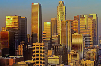 Skyline View Of Downtown Los Angeles Art Print
