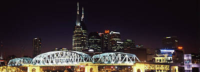 Davidson County Photograph - Skylines And Shelby Street Bridge by Panoramic Images