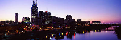 Davidson County Photograph - Skylines At Dusk Along Cumberland by Panoramic Images