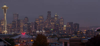 Seattle Skyline Photograph - Skylines At Dusk, Seattle, King County by Panoramic Images