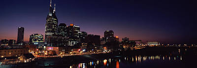 Cumberland River Photograph - Skylines At Night Along Cumberland by Panoramic Images