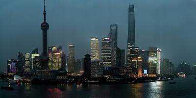 Bund Photograph - Skylines At The Waterfront At Night by Panoramic Images