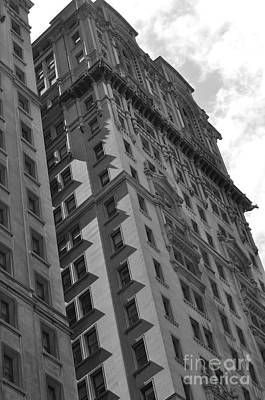 Photograph - Skyscraper In New York City Black And White by Kathy Flood