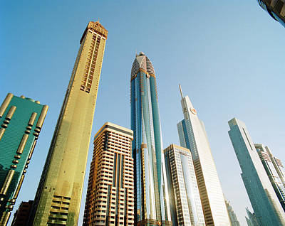 Skyscrapers Along Sheikh Zayed Road At Art Print by Gary Yeowell