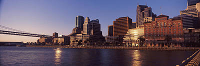 Bay Bridge Photograph - Skyscrapers And Bay Bridge At Sunset by Panoramic Images