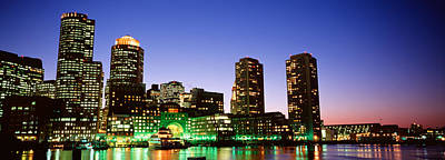 Boston Financial District Photograph - Skyscrapers At The Waterfront Lit by Panoramic Images