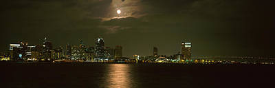 Sea Moon Full Moon Photograph - Skyscrapers Lit Up At Night, Coronado by Panoramic Images