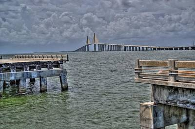 Skyway Bridge New And Old Art Print by Timothy Lowry
