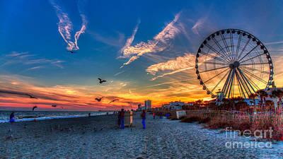 Skywheel Sunset At Myrtle Beach Art Print by Robert Loe