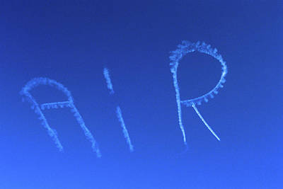 Skywriting The Letters Air In Cloudless Art Print