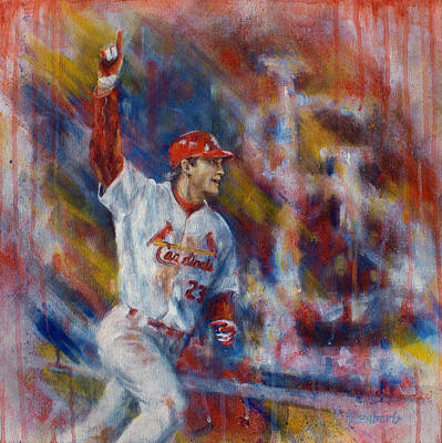 Baseball Painting - Freese Game 6 by Josh Hertzenberg