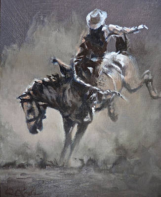 Bronc Painting - Slapping Leather by Mia DeLode
