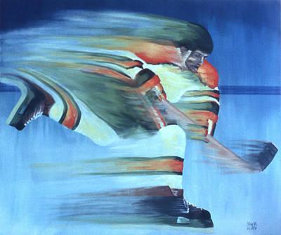 Ice Hockey Painting - Slapshot by Ken Yackel