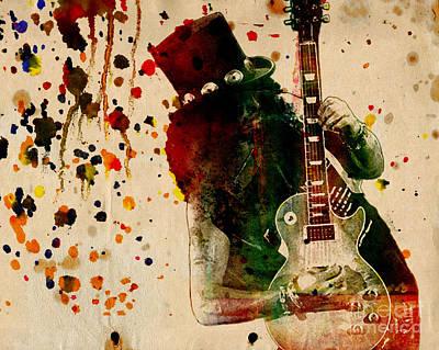 Axl Painting - Slash - Watercolor Print From Original  by Ryan Rock Artist