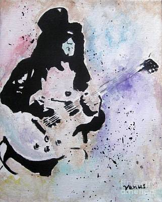 Black Man Playing Guitar Painting - Slash - Guns N Roses by Venus