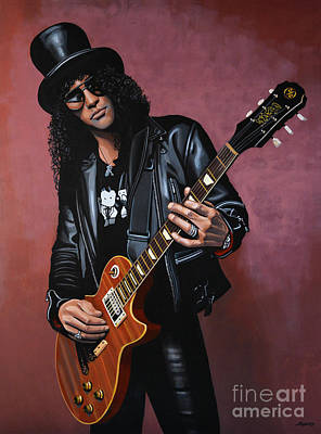 Celebrity Portraits Painting - Slash by Paul Meijering