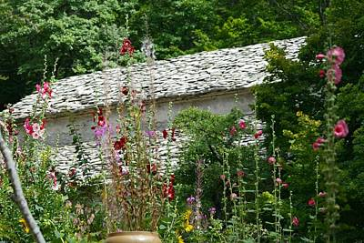 Photograph - Slate Home And Flowers by Phoenix De Vries