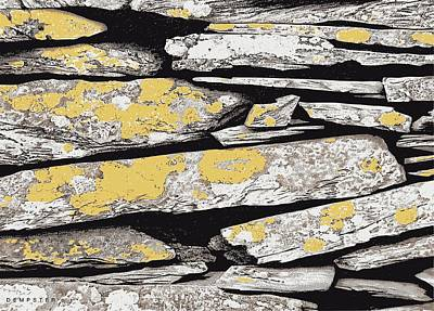 Yellow Painting - Slate Wall by Alwyn Dempster Jones
