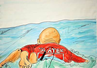 Slater Paddles Out Original by Katie Profita