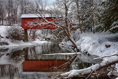 Photograph - Slaughterhouse Covered Bridge Above Dog River by Jeff Folger