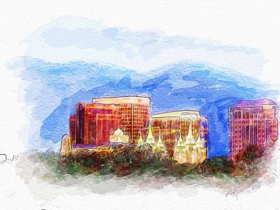 Slc Temple Photograph - Slc Skyline Watercolor by La Rae  Roberts