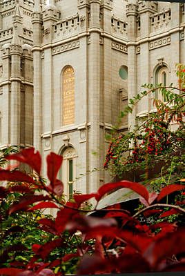 Slc Temple Photograph - Slc Temple Berries Turret by La Rae  Roberts