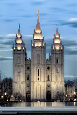 Saints Photograph - Slc Temple Blue by La Rae  Roberts