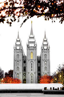 Slc Temple Photograph - Slc White N Red Temple by La Rae  Roberts