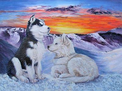 Sled Dog Dreams Art Print by Karen  Peterson