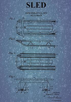 Mixed Media - Sled Patent On Snow by Dan Sproul