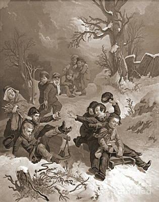 Mezzotint Engraving Photograph - Sledding 1854 by Padre Art
