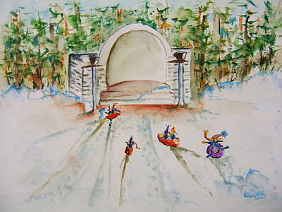 Sledding At Devou Park Art Print by Elaine Duras