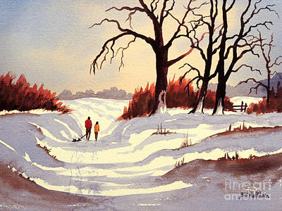 Winter Sports Painting - Sledding by Bill Holkham