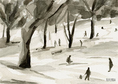 Sledding In The Snow Watercolor Painting Of Central Park Nyc Print by Beverly Brown